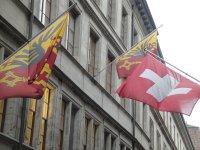 Geneva and Swiss flags