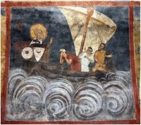 The Miracle at Sea, from teh life of St. Nicholas, 1259