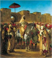 Delacroix, the Sultan of Morocco at his Meknes palace (1845)