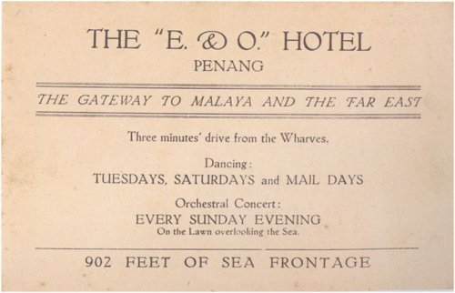Historic advertisement, E&O Hotel, Penang