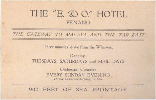 Historic advertisement, E&O Hotel, Penang